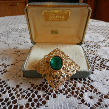Vintage GF? Goldtone Diamond Shaped Filigree Designed Brooch Pin Emerald Green Glass Oval Stone With Box