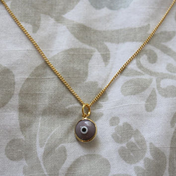 Lavender Evil Eye Dainty Pendant Necklace with Gold Plating