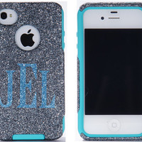 Otterbox Case iPhone 4 / 4S - Monogram Glitter Smoke iPhone 4S Case - Personalized iPhone 4 /4S Case Cover