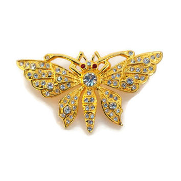 Gold Butterfly bling pin /  brooch