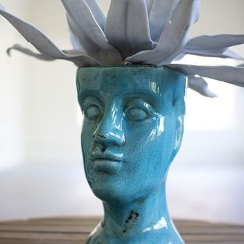 Ceramic Head Planter - Turquoise