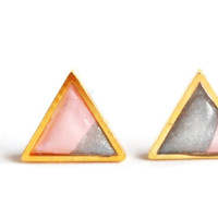 Triangle Pink and Silver Earrings