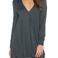 Deep Gray V-Neck Long Sleeves Asymmetrical Mini Dress