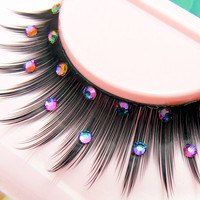 Mermaid Song -  Ultra Sparkly False Eyelashes with Purple Green Preciosa Crystal Diamante Rhinestones  for all PinUp Divas