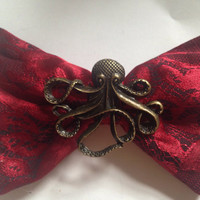 Steampunk Bronze Octopus Hair Bow Black Gothic Red Lace Goth