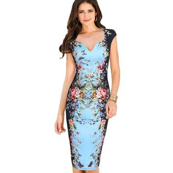 Womens Summer Dresses Elegant Floral Butterfly Print Casual Knee-Length Bodycon Sheath Dress 200
