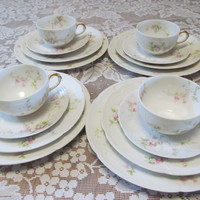 Limoges Set of 4 Place Setting Limoges France C H Fields Haiviland GDA  Antique Plates Roses set of 4 Fine Dining Dishes Luxury Dishes