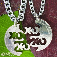 XO Friendship Necklaces, Best friends friendship jewelry, XOXO Hugs and Kisses Interlocking Quarter, hand cut coin