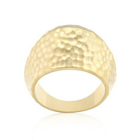 Hammered Golden Fashion Ring, size : 05