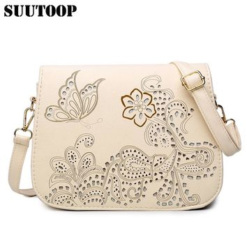 New high quality flowers and butterfly hollow out messenger bag women bag cross body bag school bag saddle PU leather bolsa tote