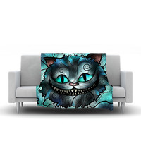 "Mandie Manzano ""Mad Chesire"" Teal Cat Fleece Throw Blanket"