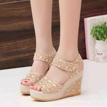 2017 Summer Women platform Sandals Lace Open Toe Fish Head High Heels Wedge Sandals female shoes New fashion women shoes