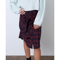 Who's Ready Plaid Skirt - Navy/Red