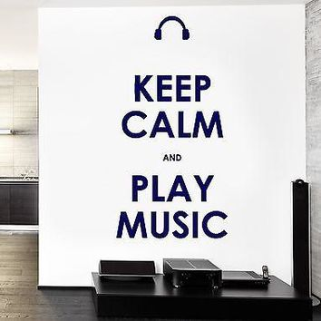 Wall Vinyl Quote Keep Calm And Play Music Guaranteed Quality Decal Unique Gift (z3517)
