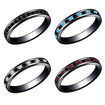 Black Gold on 925 Silver Eternity Wedding Band Ring With Multi-Color Gemstone