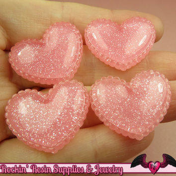 5 pcs Sparkly PINK GLITTER Scalloped Hearts Resin Decoden Flatback Kawaii Cabochons