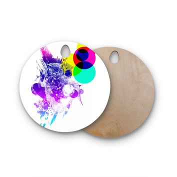 """Frederic Levy-Hadida """"Owl"""" Purple Round Wooden Cutting Board"""