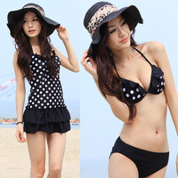 Womens Dotted Bikini Halter Bathing Suit Swimwear Swimsuit Dress Padded