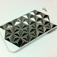 Iphone 4 / 4S white hard case with silver triangular by CRISION