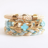 Mint bracelet stack with clover charm