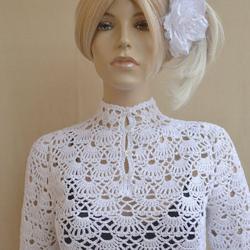 White crocheted sweater- lovely ,elegant and chic ...