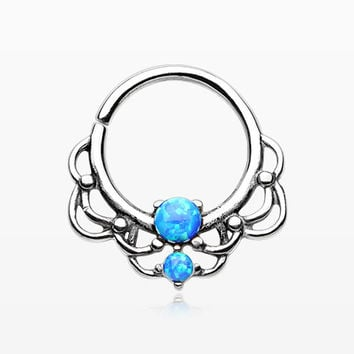 Lotus Lace Fire Opal Sparkle Septum Twist Loop Ring