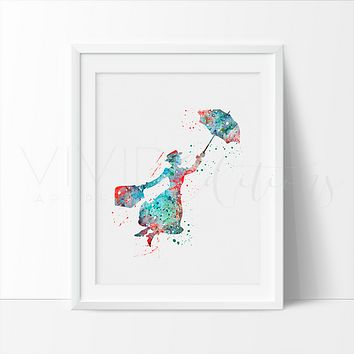Mary Poppins 2 Watercolor Art Print