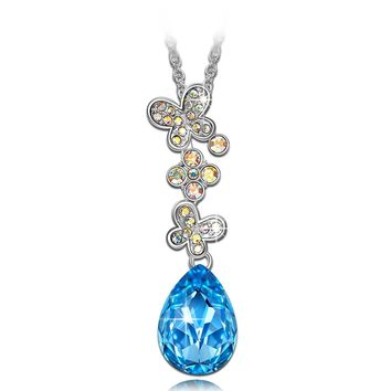 """Morpho Helena"" Butterfly Pendant Necklace, Made with Swarovski Crystals, Clover Women Jewelry"