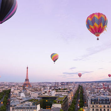 Hot Air Balloon Photography Print - Purple Paris Art - Whimsical Paris Wall Decor - Eiffel Tower Art Print - Nursery Decor - Children's Art