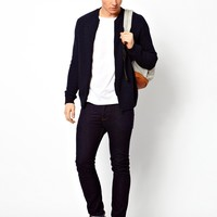 ASOS Knitted Bomber Jacket - Navy/black