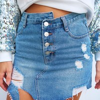 Take A Chance Skirt: Denim