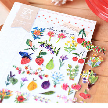 My garden flower sticker lovely plant little flower garden herbal sticker petit Garden colorful fruit mini label horticultural scrapbook