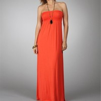 Pre-Order: Coral Strapless Maxi Dress