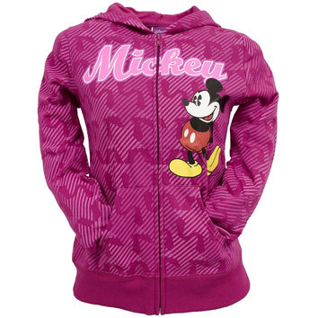 Mickey Mouse - All-Over Ribbons Girls Youth Zip Hoodie