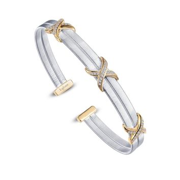 Lafonn Sterling Silver Milano Double Bangle Bracelet with Yellow Pave X Accent