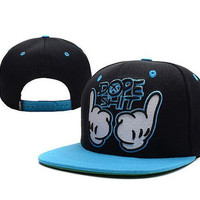 Black and Blue DOPE SH-T Cartoon Snap Back Cap