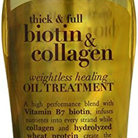 OGX Weightless Healing Oil Treatment, Thick and Full Biotin and Collagen, 3.3 Ounce
