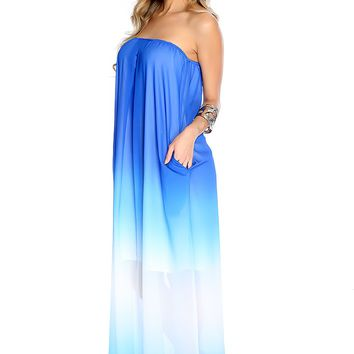 Sexy Blue White Strapless Ombre Sheer Casual Maxi Dress