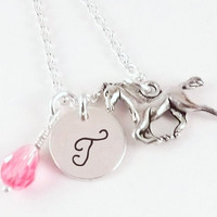 Personalized Initial Horse, Equestrian, Pony Charm Necklace with Horse Charm and Swarovski Rose Teardrop