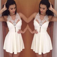 Short Party Dress with Fashion  Hollow Out Plus Size Slimming Sleeveless Backless