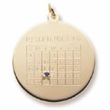 Calendar Charm in Yellow Gold Plated