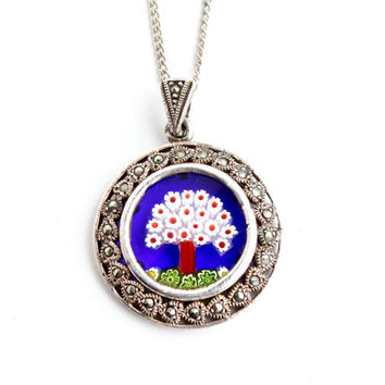 Vintage Millefiori Tree Necklace -  Marcasite Silver Tone Costume Jewelry / Abstract Tree