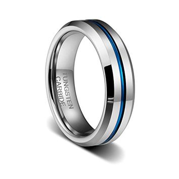 CERTIFIED 6 MM Thin Blue Line Plated Groove Tungsten Carbide wedding band