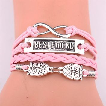 GVUSMIL Infinity Owl Charm BEST FRIEND Bracelet Leather Wrap Men Bracelets & Bangles For Women Jewelry