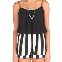 Belt Straps Striped Romper - Small