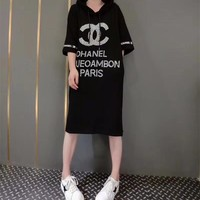 """Chanel"" Women Loose Casual Fashion Hot Fix Rhinestone Letter Short Sleeve T-shirt Hooded Dress"