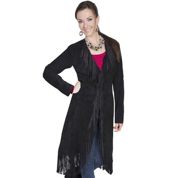 Scully Womens Black Boar Suede Fringe Maxi Coat