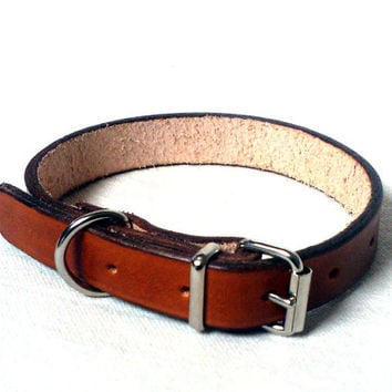 """Leather dog collar, 1/2"""" wide, single buckle, in 15 colors, X small dog collar, tan dog collar, black dog collar, brown dog collar"""