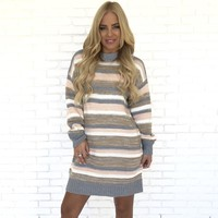 Quiet Down Stripe Knit Sweater Dress