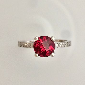 Raspberry Red Rhodolite Garnet Engagement Ring